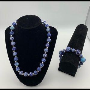 NWT Jilzara navy clay beaded necklace & bracelet.